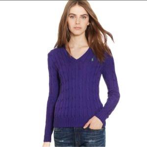 Ralph Lauren Sport Cable-Knit V-Neck Sweater Sz L